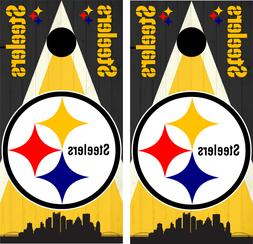 Steelers NFL Custom Woodgrain Cornhole Skin Wrap set 3M Lami