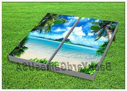 VINYL WRAPS Cornhole Boards DECALS Tropical Paradise Beach