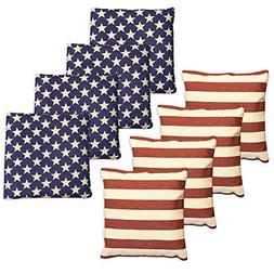 Weatherproof Duck Cloth Cornhole Bags - Set of 8 American Fl