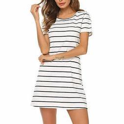 Toimothcn Women's Striped Tunic Dress Casual Criss Cross Sho
